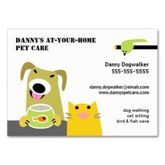 Pet Sitter- Dog Cat Bird and Fish-white background Business Card Template. This great business card design is available for customization. All text style, colors, sizes can be modified to fit your needs. Just click the image to learn more!