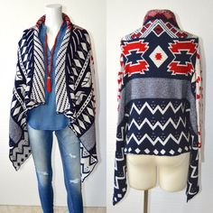 BoHo Aztec Western Pattern Ladies COZY CARDIGAN Sweater BOUTIQUE QUALITY S - XL #HighnessNYC #Cardigan