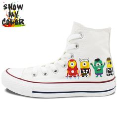 8d796226a775 Aliexpress.com   Buy White Minions Converse All Star Boys Girls Shoes  Custom Despicable Me Design Hand Painted Canvas Sneakers Christmas Gifts  from Reliable ...