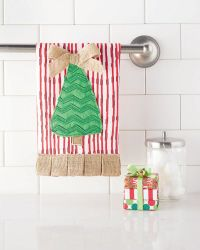 Christmas Tree Towel #4405027 Linen hand towel with box pleat burlap hem features multi-layered tree with dimensional burlap bow.