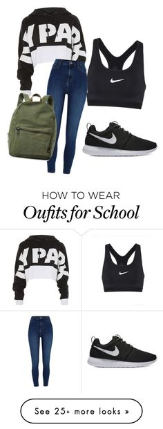 """Basic school day"" by belledelcarmen on Polyvore featuring NIKE, Topshop, River Island and Herschel Supply Co."