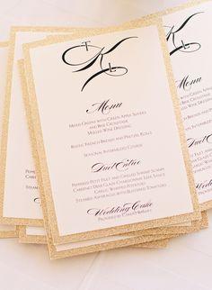 Black, White and Gold Reception Menu Cards | Jen & Dayton Photography | http://knot.ly/6494BFkL4 | http://knot.ly/6495BFkLf