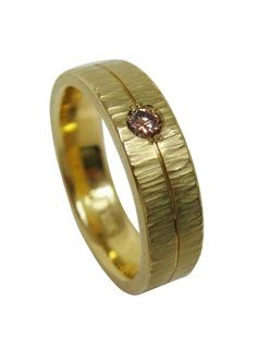 Textured band in yellow gold with a natural colored diamond by artist Jim Dailing. Unique Bracelets, Unique Necklaces, Unique Earrings, Unique Jewelry, Custom Wedding Rings, Unique Wedding Bands, Wedding Jewelry, Wedding Ideas, Unique Promise Rings
