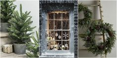 Christmas Decorations = fir trees in zinc buckets, snow flakes in windows and a simple wreath or two