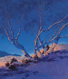 """""""White Birches: Winter,"""" Maxfield Parrish, 1951, oil on Masonite, 21½ x 18½"""", private collection."""