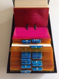 New vintage rolodex petite s 310 c address book removable inserts rolodex vip 24c w blank file cards alpha index office organizer pink orange ebay reheart Images
