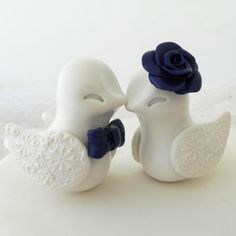 Wedding Cake Topper  Love Birds  Ivory and Navy Blue  by LavaGifts, $67.00