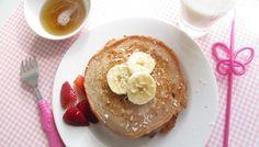 Coconut and Banana Pancakes :http://sweetpotatochronicles.com/2012/04/brunch-week-coconut-and-banana-pancakes/