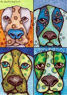 Hound Dog Quartet by Slumbering Herd Copic