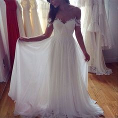 Sweetheart white chiffon long prom dress,A-line lace long prom dress,Formal Dress,Evening Dress