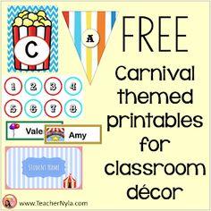 Free carnival themed classroom decor printables Carnival Classroom, Classroom Jobs, Kindergarten Classroom, Classroom Decor, Free Teaching Resources, Teaching Ideas, Dentist Jokes, Book Bin Labels, Polka Dot Theme