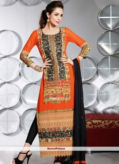 Malaika Arora Khan Style Orange Georgette Pakistani Suit