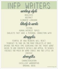Characteristics of writers with the INFP personality profile.