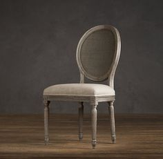 Vintage French Cane Back Round Upholstered Side Chair | Upholstered Chairs | Restoration Hardware