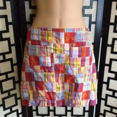 "J Crew Madras patchwork skirt Very good condition, no holes or stains. Zips up the side. It's labeled a size 0 but the waist measures 30"". J. Crew Skirts"