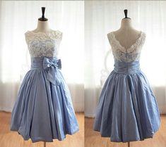 Vintage Inspired Lace Blue Taffeta Wedding Dress Bridal Gown V Back Scalloped Edge Prom Dress Knee Tea Short Wedding Dress on Etsy, $149.00