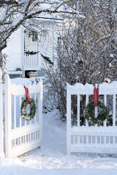 love the wreaths on the gate