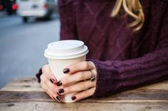 burgundy sweater + nails