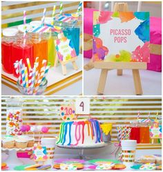 Amazing colorful neon art birthday party! See more party ideas at CatchMyParty.com!