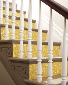 DIY Wallpapered Stairs - this would look so bad in a just a few weeks.