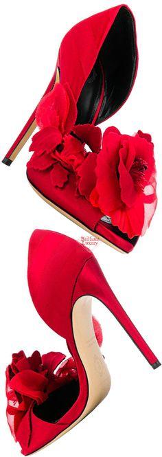 Aleksander Siradekian red Sofra pump #brilliantluxury Silver Pumps, White Pumps, Bow Sandals, Luxury Shoes, Pink Stripes, Red Color, Designer Shoes, Stiletto Heels, Christian Louboutin