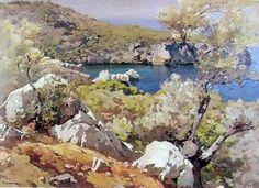 Josep Puigdengolas Barella (Barcelona, 1906 - 1987) Vista de la costa de Deiá