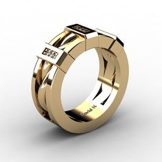 Mens 14K Yellow Gold Diamond Inlay Twist Wedding от DavidKDesigns