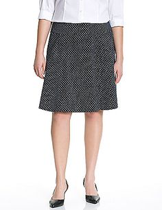In a subtle print and flattering A-line silhouette, the skater skirt gets an office-appropriate makeover.  Hidden zipper closure. lanebryant.com