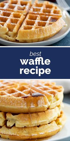 This is the Best Waffle Recipe It makes easy waffles that are light and fluffy Serve with maple syrup or with your favorite fruit and jam recipe waffles breakfast brunch Best Waffle Recipe, Waffle Maker Recipes, Belgian Waffle Recipes, Overnight Waffle Recipe, Waffle Recipe With Cake Flour, King Arthur Waffle Recipe, Best Ever Belgian Waffle Recipe, Recipe For Waffles, Breakfast
