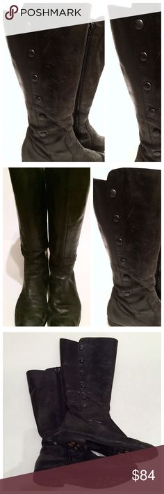 """Pre loved BORN Buttery Soft Leather Boots, Size 8 Born Leather Boots with side button detail and zip up the other side. The leather is buttery soft, so nice.  Lined in fabric, as shown.   Bought these for $250-275 after having my son. For those of you who haven't been pregnant, your feet get fat! So, these were my go to while my feet were """"losing weight"""" 😉  They are -so- comfortable.   As you can see, they're definitely worn in. But with a good polish, they'll look great. I'll take care of…"""