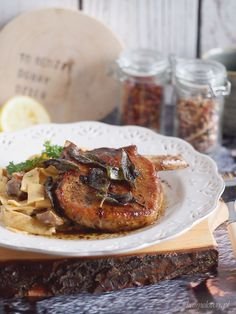 Pork chops with sage and mushroom pasta