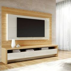 2 Piece Modern Theater Center: Floating Wall Mounted TV Panel and Free Standing TV Stand for Living Room and Bedroom use. Upon Assembly, Measures: in. Recommended for a TV Sc Tv Unit Decor, Tv Wall Decor, Tv Cabinet Design, Tv Wall Design, Tv Stand And Panel, Tv Panel, Tv Wanddekor, Floating Tv Stand, Floating Wall