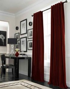 Messina Opulent Velvet Lined Wide Width Drape, Crimson - traditional - curtains - Curtainworks