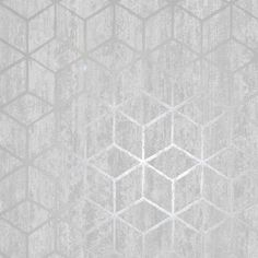 Rochester Geometric Wallpaper Silver and Grey - Holden Decor 65200 Silver Effect Wallpaper, Geometric Wallpaper Silver, Stick On Wallpaper, Paper Wallpaper, Modern Wallpaper, Room Wallpaper, Textured Wallpaper, Wallpaper Ideas, Crushed Velvet Wallpaper