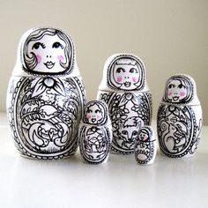Russian Nesting Dolls Matryoshka Babushka Painted by sewZinski, $125.00