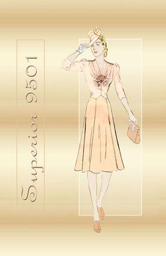 Sewing Pattern 1930s Dress Superior 9501 Sophisticated One Piece Dress with Angular Bodice Gathers Bust 32