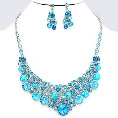 Aqua Blue Zircon AB Crystal Rhinestone Bubble Crescent Silver Formal Evening Chunky Necklace Set Elegant Costume Jewelry