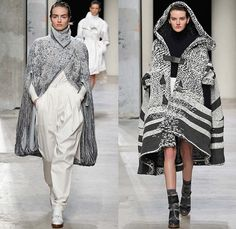 Leonard 2015-2016 Fall Autumn Winter Womens Runway Catwalk Looks - Mode à Paris Fashion Week Mode Féminin France - Fringes Hanging Sleeve Oversized Coat Chunky Knit White Ensemble Turtleneck Halter Top Silk Georgette Ribbon Sash Waist Maxi Dress Robe Cloak Crochet Weave Straps Furry Slouchy Ornamental Half Skirt Sheer Chiffon Sweaterdress Drapery Waistcoat Leopard Embroidery Flowers Florals Jumpsuit Dungarees