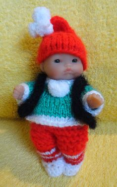 """Hand Knitted Dolls Clothes for 5"""" Berenguer Doll (# 79)"""
