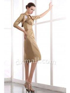 Sheath/Column Mother Of The Bride Dresses Strapless Knee Length Taffeta Taffeta Dark Champagne 12001040023
