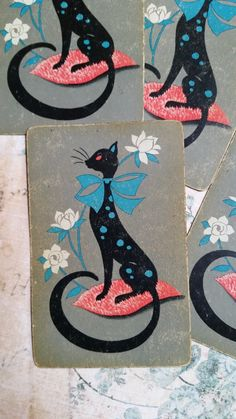 Adorable Mod Black Cat Playing Cards Trade Cards Tags by ZoeAmaris