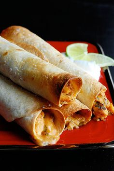 Creamy Chicken Taquitos (baked, not fried)