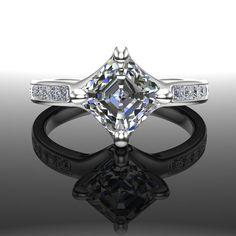 Asscher Cut Diamond Engagement Ring 1 1/2 Carat with by jetflair