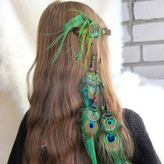 """Long Green Feather Hair Extension """"Summer Dance"""" Green Feather Hair Clip Tribal Feather Hair Extension Boho Peacock Feather Hair Clip by Nastasy on Etsy"""