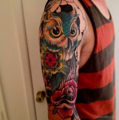 Colored Owl Tattoo Design On Half Sleeve