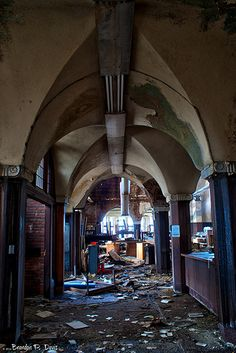 Entryway to Decay... Abandoned Mark Twain Branch of Detroit Public Library.
