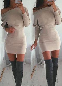 Fashion Skew Neck Long Sleeve Dress (4 Colors)