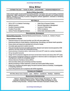 Imaging Clerk Sample Resume 80 Best Medical Billing Specialist Images On Pinterest In 2018 .