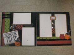 Halloween Scrapbook Layout Halloween Scrapbook, Kids Scrapbook, Photo Album Scrapbooking, Scrapbook Sketches, Scrapbook Page Layouts, Scrapbooking Ideas, Scrapbook Cards, Halloween Projects, Halloween Themes