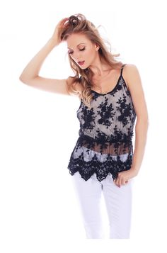 Sheer Lace Spaghetti Strap Blouse